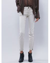 Free People | White Womens Levon Zipper Skinny | Lyst