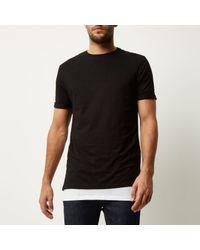 River Island - Black Double Layer Longline T-shirt for Men - Lyst