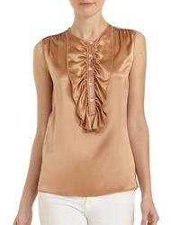 Dolce & Gabbana - Natural Silk Satin Ruffle Bib Blouse - Lyst