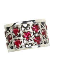 King Baby Studio - Metallic Heart Patterned Ring With Garnet Stones - Lyst