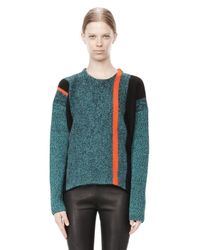 Alexander Wang Blue Boiled Tweed Crewneck Baja Pullover