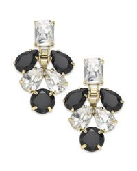 Kate Spade | Gold-tone Clear Crystal And Black Stone Chandelier Earrings | Lyst
