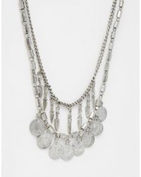 Pieces - Metallic Jensa Long Coin Necklace - Lyst