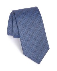 David Donahue | Blue Check Silk Tie for Men | Lyst