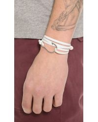 Miansai White Silver Hook Leather Wrap Bracelet for men