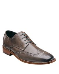 Florsheim Gray Castellano Leather Wingtip Oxfords for men