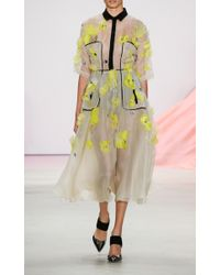 Lela Rose | Yellow Floral Embroidery Dress | Lyst