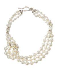 Jose & Maria Barrera White Knotted Three-strand Simulated Pearl Necklace