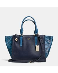 COACH - Blue Crosby Carryall In Colorblock Exotic Embossed Leather - Lyst