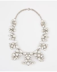 Ann Taylor | Metallic Crystal Brooch Statement Necklace | Lyst