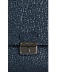 Burberry Blue Signature Grain Leather Messenger Bag for men