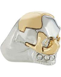 Alexander McQueen Metallic Puzzle Skull Ring - For Women