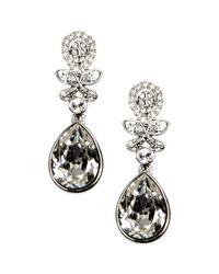 Givenchy - Metallic Silver Tone Crystal Bridal Earrings - Lyst