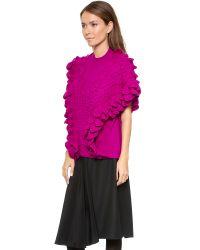3.1 Phillip Lim Purple Crochet Ruffle Sleeveless Knit - Ivory
