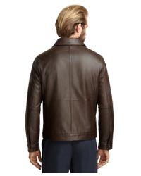 Brooks Brothers Brown Elliot Leather Bomber for men