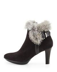 Aquatalia - Black Rebecca Fur Buckle Boot - Lyst