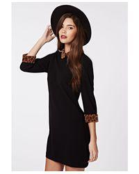 Missguided Black Shayne Peter Pan Collar Shift Dress Leopard
