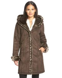 Gallery Brown Hooded Faux Shearling Coat