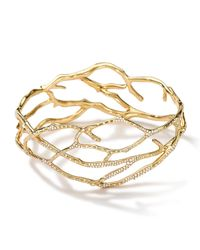 Ippolita Metallic 18k Gold Stardust Multi-branch Bangle With Diamonds