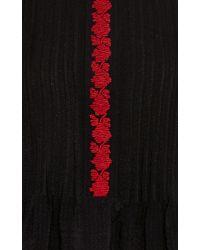 Vilshenko - Black Elena Seersucker Pin Tuck Embroidered Blouse - Lyst