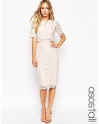 ASOS | Pink Lace Crop Top Midi Pencil Dress | Lyst