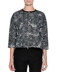 Marni - Gray 3/4-sleeve Cropped Floral Jacquard Jacket - Lyst