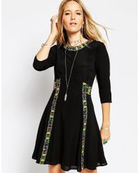 ASOS | Black Boho Dress With Cross Stitch Detail | Lyst