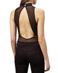 Miss Selfridge Black Sheer Open-back Applique Bodysuit