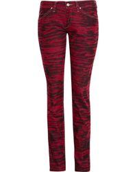 Étoile Isabel Marant Red Iti Tiger-Print Corduroy Mid-Rise Skinny Jeans