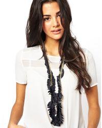 Kasturjewels Black Metal Necklace On Pleated Silk Cloth