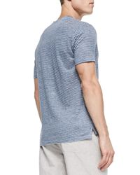 Vince - Blue Linen Striped V-neck Tee for Men - Lyst
