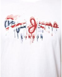 Pepe Jeans - White T-Shirt with Pete Paint Union Jack Logo for Men - Lyst