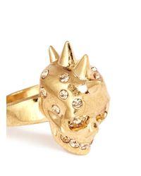 Alexander McQueen | Metallic Crystal Punk Skull Ring | Lyst