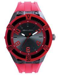 Sean John Men's Red Silicone Strap Watch 56x50mm 10018072 for men