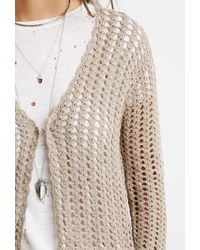 Forever 21 - Brown Longline Open-knit Cardigan - Lyst
