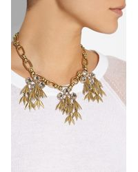 J.Crew - Metallic Jeweled Quill Gold-Plated Crystal Necklace - Lyst