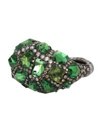 Arunashi - Black Tsavorite Rock Ring - Lyst