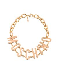 Moschino Metallic Lettering Necklace