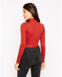 ASOS - Red Turtle Neck Crop Top In Rib - Lyst