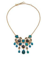 Alexis Bittar Blue Elements Gilded Muse Chrysocolla & Crystal Bib Necklace