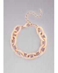 Bebe - Metallic Chainlink Crystal Bracelet - Lyst