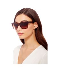 Diane von Furstenberg | Brown Leah Studded Sunglasses | Lyst