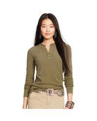 Polo Ralph Lauren - Green Long-sleeve Henley Shirt - Lyst
