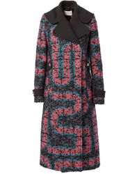 Peter Pilotto | Blue Zigzag Pattern Concealed Fastening Coat | Lyst