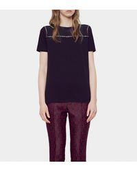 Gucci - Black Light Cotton And Silk Embroidered T-shirt - Lyst