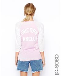 ASOS - Pink Baseball Top With Unicorn Back Print - Lyst