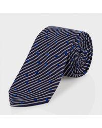 Paul Smith Blue Navy Heart-Stripe Narrow Silk Tie for men