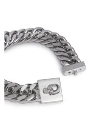 Alexander McQueen - Metallic Skull Lock Chain Bracelet for Men - Lyst