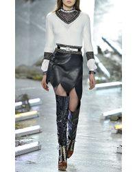 Rodarte - Black Eight Panel Leather Skirt - Lyst