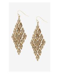 Express - Metallic Diamond Shaped Textured Mesh Drop Earrings - Lyst